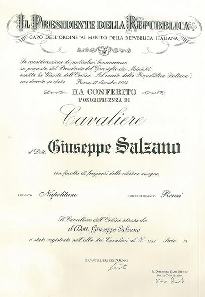 Conferimento onorificenza Cavaliere